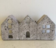 Stone Tealight House - row of 3