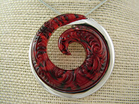 Necklace - Red Koru Pendant Necklace