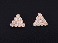 Sterling Silver - Rose Gold Triangle Studs
