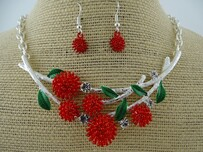 Necklace - Red & Silver Pohutukawa Set