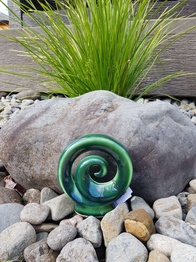 NZ Made Ceramic Spiral Koru - Green  15cm