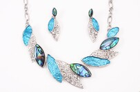 Necklace - Paua & Blue Beads - Earrings & Necklace Set