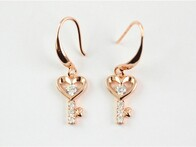 Earrings - Rose Gold Key Heart