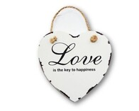 Wooden Heart with Message - White