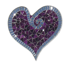 Abstract Mosaic Heart with Mirror Trim / Purple