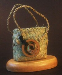 NZ Made Kete Business Card  Holder - Koru
