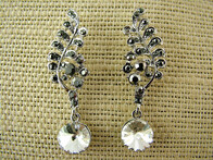 Earrings - Black Rhinestone Leaf Earrings