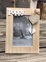Wooden Poppy Photo Frame