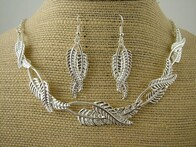Necklace - Silver Twist Fern Set