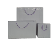 White Gloss Paper Bags with Purple Handles 210gsm per 50 Bags