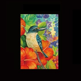 NZ Print Tea Towel - Kingfisher - Irina Velman