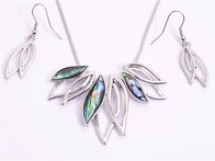 Necklace - Silver & Paua Leaves Set