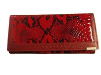 Genuine Leather Wallet / Red Snake Print