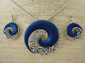 Necklace - Blue Koru Necklace & Earrings Set