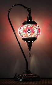 Turkish Mosaic Swan Lamp - Small Red