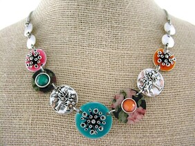Necklace - Colorful Beads & Pohutukawa