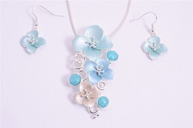 Necklace - Blue & White Flowers Set