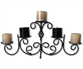 5 Arm Metal Candlestick.with Twist design / Black
