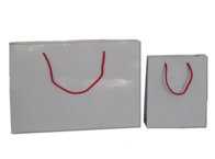 White Gloss Paper Bags with Red Handles 210gsm per 50 Bags