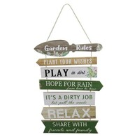 Garden Rules Wooden Sign