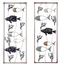 Metal Coral Fish Wall Art 2pce