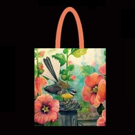 NZ Print Tote Bag - Flower Fantail