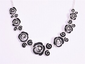Necklace - Black Roses