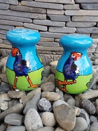 NZ Made Handpainted - Round Pukeko Salt & Pepper Set