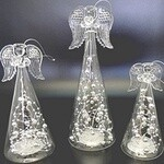 Light Up Angels with Silver Balls 18cm