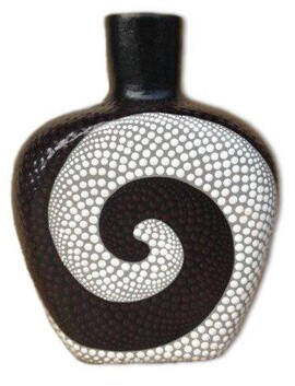 Pottery Dot Squat Vase / Black/White