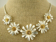 Necklace - Silver and Gold Daisy Necklace