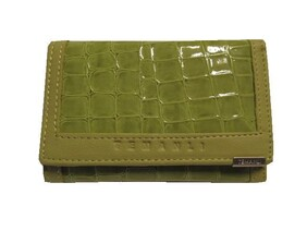 Genuine Leather Wallet / Green 12cm