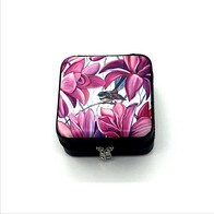 Leather NZ Print Jewellery Box - Purple Fantail