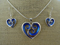 Necklace - Blue Koru Heart Set