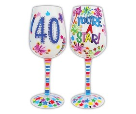 40th Wine Glass