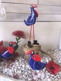 Nz Made Ceramic Pukeko Tube Legs with Gumboots