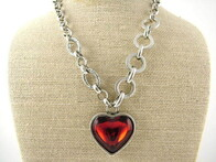 Necklace - Red Glass Chunky Heart Necklace