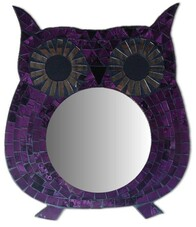 Mosaic Owl Mirror / Purple