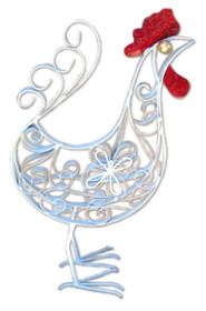 Metal Plate Curly Rooster - White