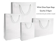 White Gloss Paper Bags 210gsm per 50 Bags