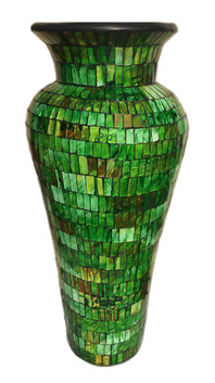 60cm Mosaic Vase with Mosaic inner / Green Glitter