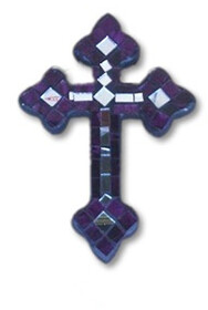 Mosaic Cross with Mirror / Purple