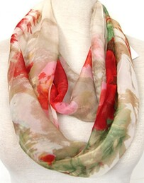 Scarf - Bold Flowers Red