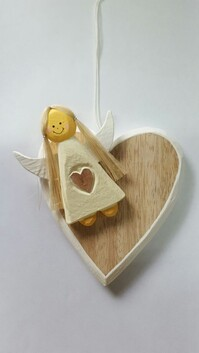 Hanging Heart Angel Decoration