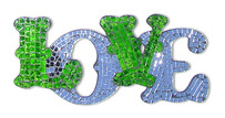 Mosaic LOVE Word Art / Green and Mirror
