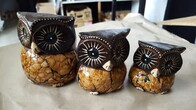 Set of 3 Wooden Owls - Crackle
