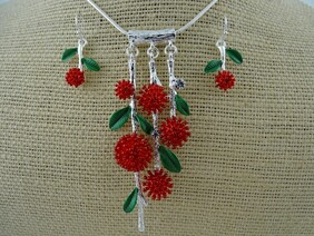 Necklace - Red & Silver Pohutukawa Branch Set