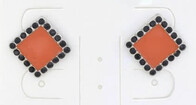 Earrings - Square Orange Stud with Black Crystals
