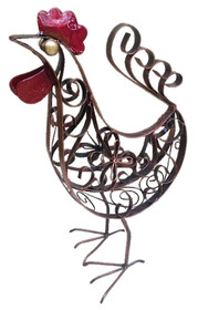 Metal Plate Curly Rooster - Brown