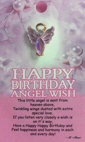 z Affirmation Angel Pin - Happy Birthday Angel Wish